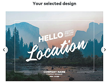 Custom postcard option from VistaPrint