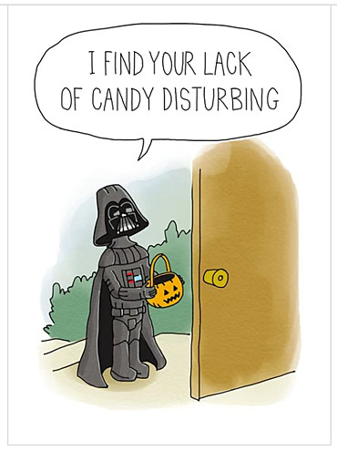 """""""Little Vader"""" Halloween card from Tree-Free Gree"""