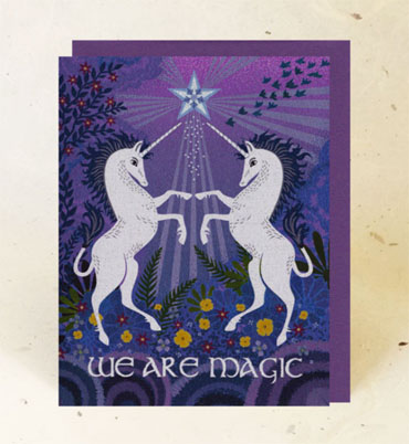 """""""Unicorn Magic"""" paper greeting card from Little Gold Fox Designs"""